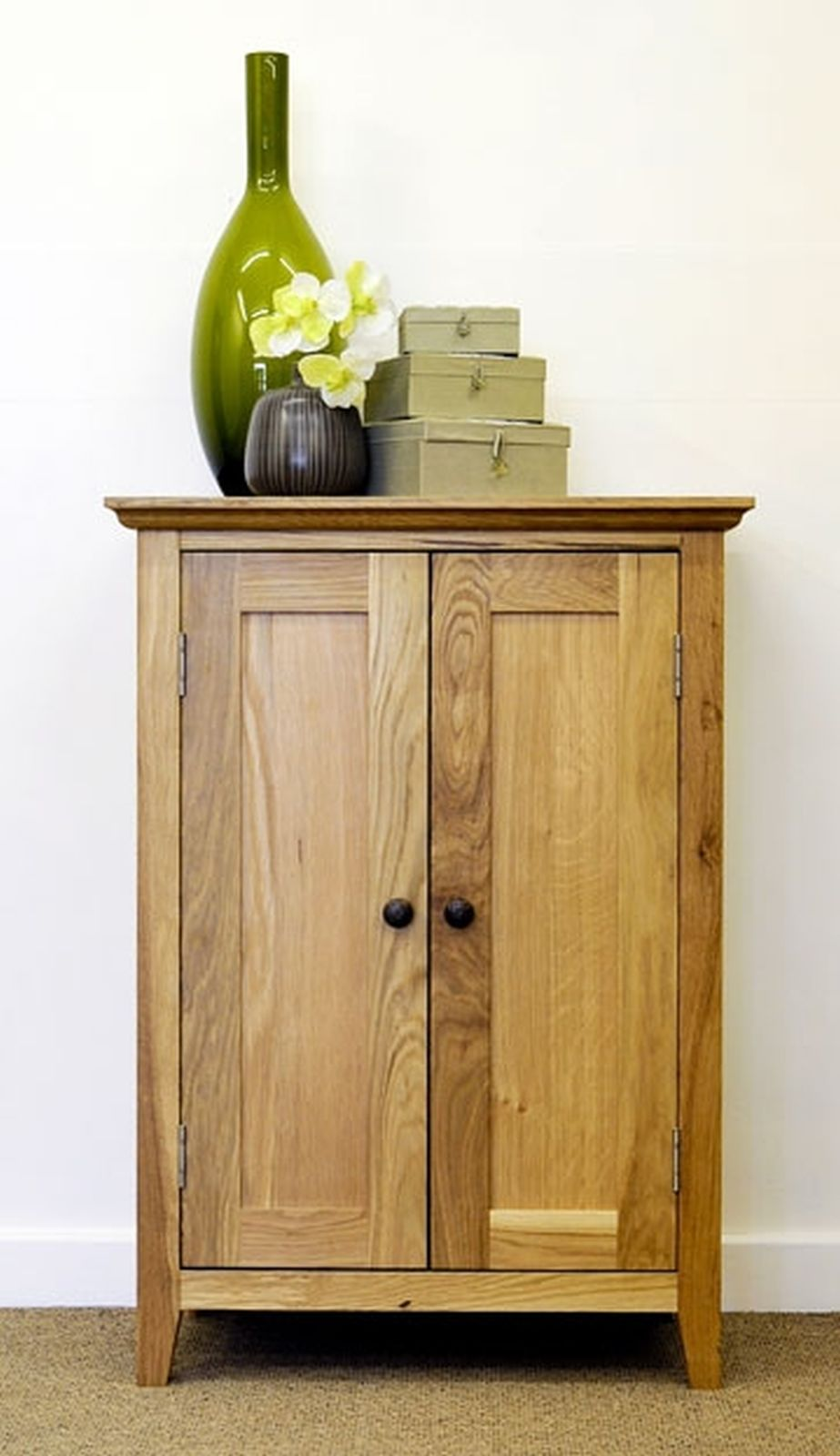 Mumford solid oak furniture hallway shoe storage cupboard for Solid oak furniture