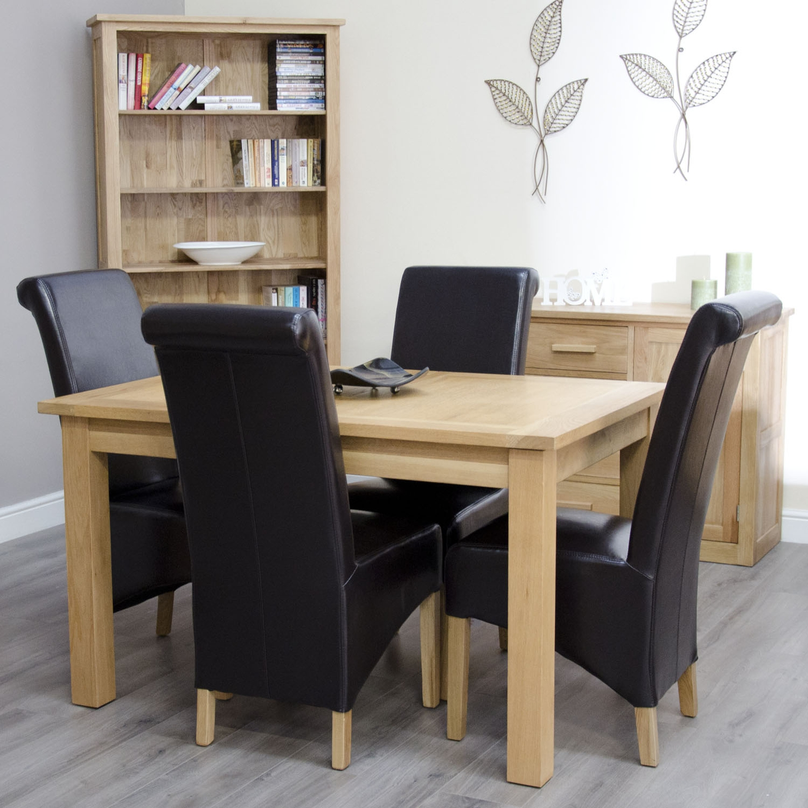 arden solid oak furniture extending dining table with four
