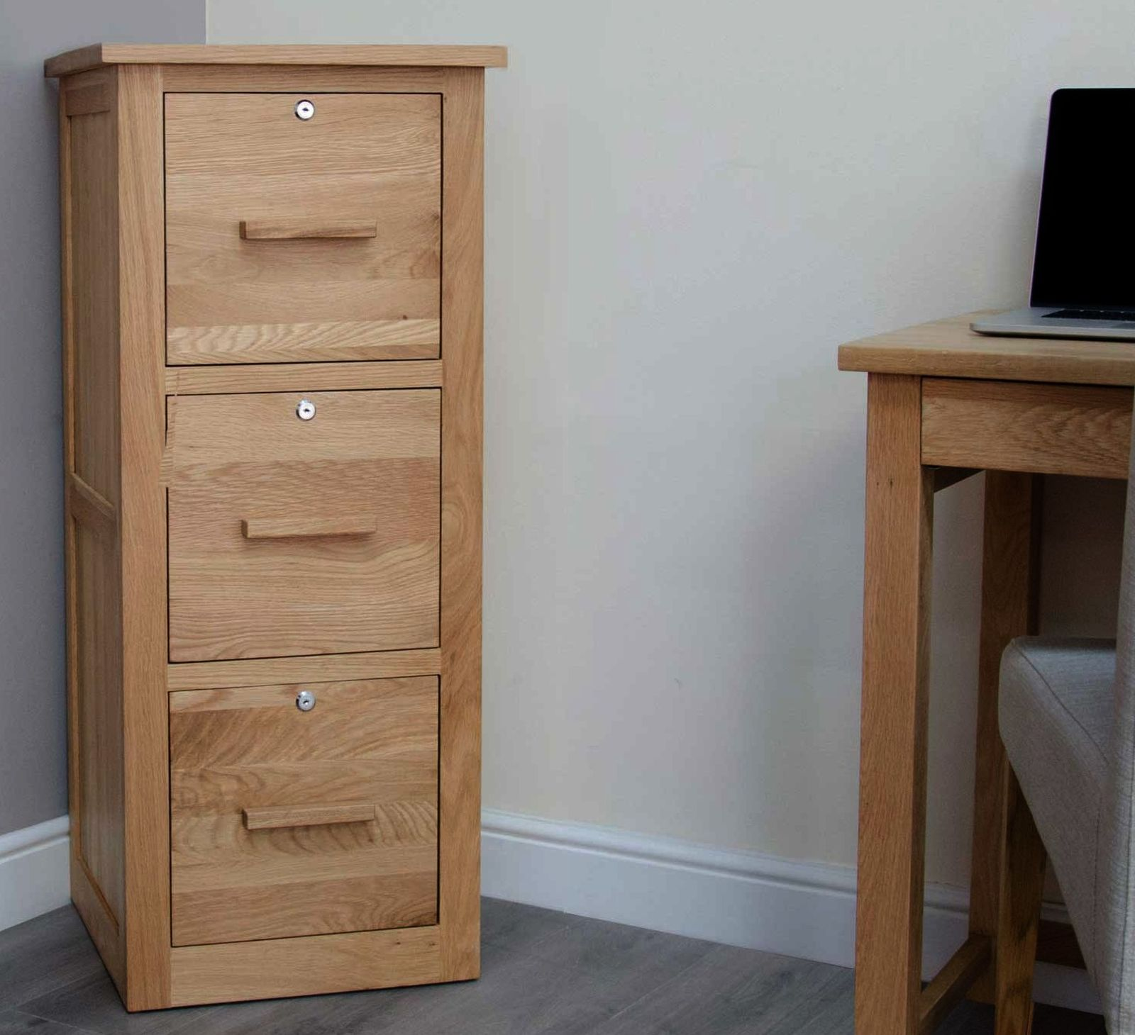 Arden Solid Oak Office Computer Furniture Three Drawer Filing Cabinet With Locks Ebay