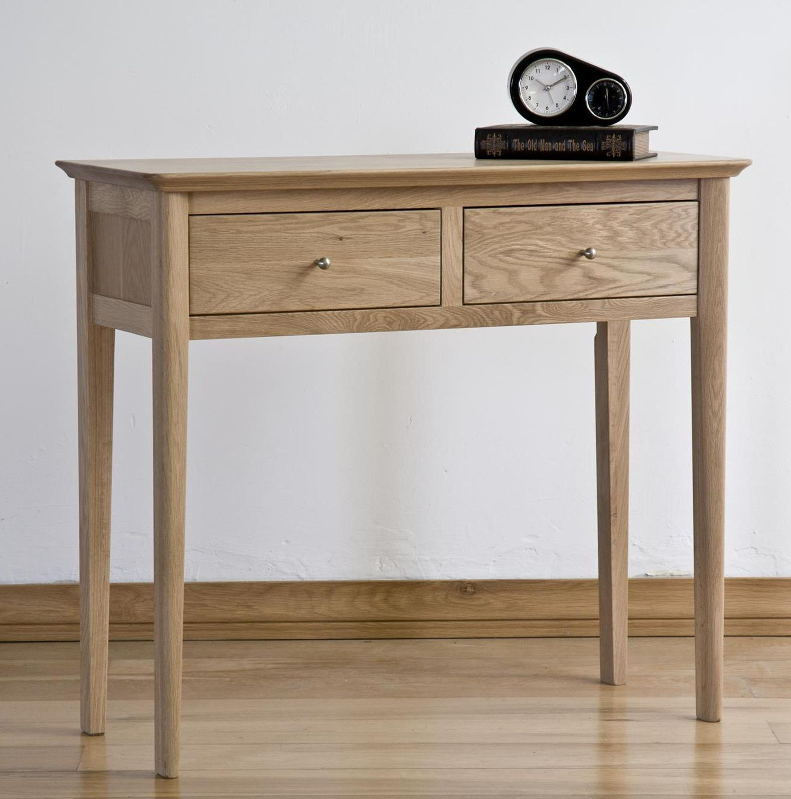 kemble solid oak hallway furniture two drawer console hall