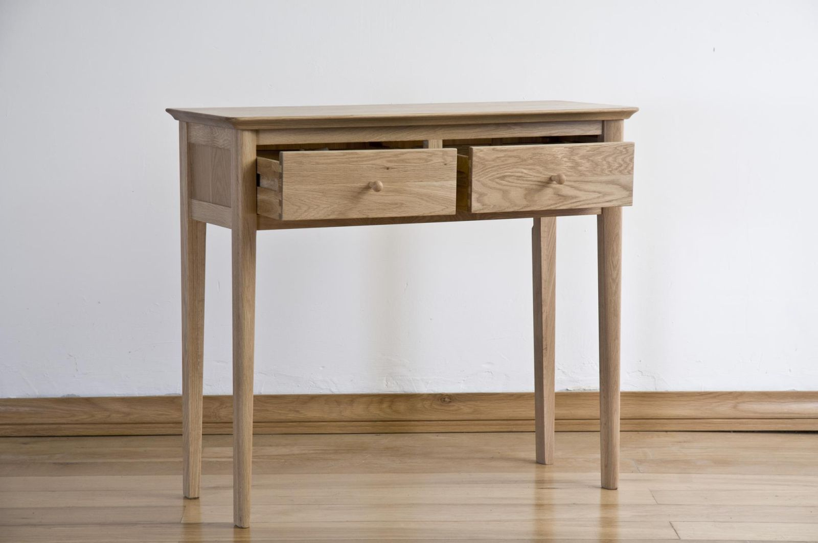 Kemble solid oak hallway furniture two drawer console hall for Table 6 kemble inn