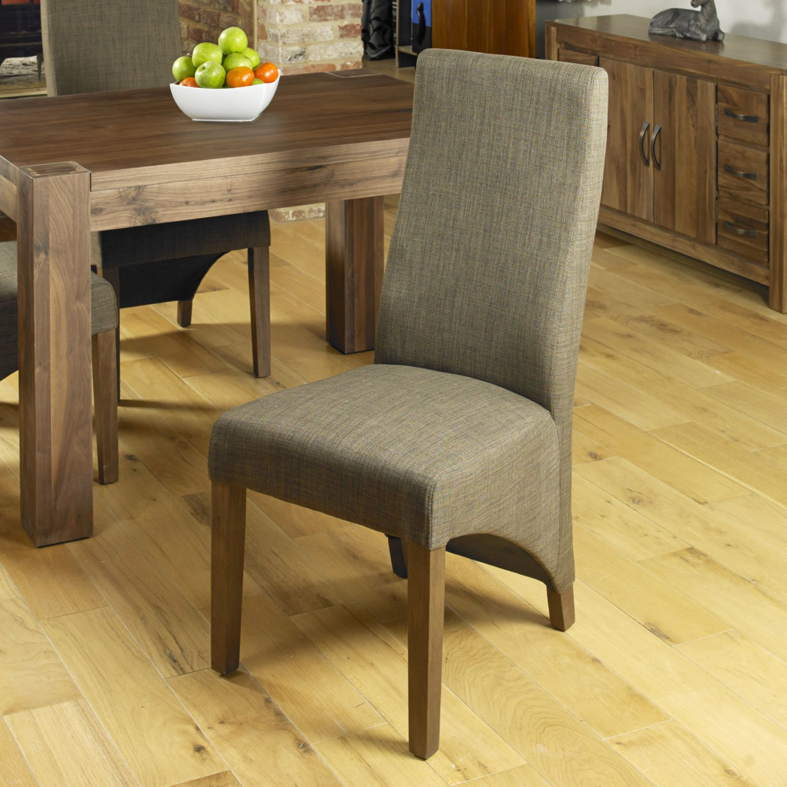 Sierra Solid Dark Wood Walnut Furniture Set Of Six Upholstered Dining Chairs