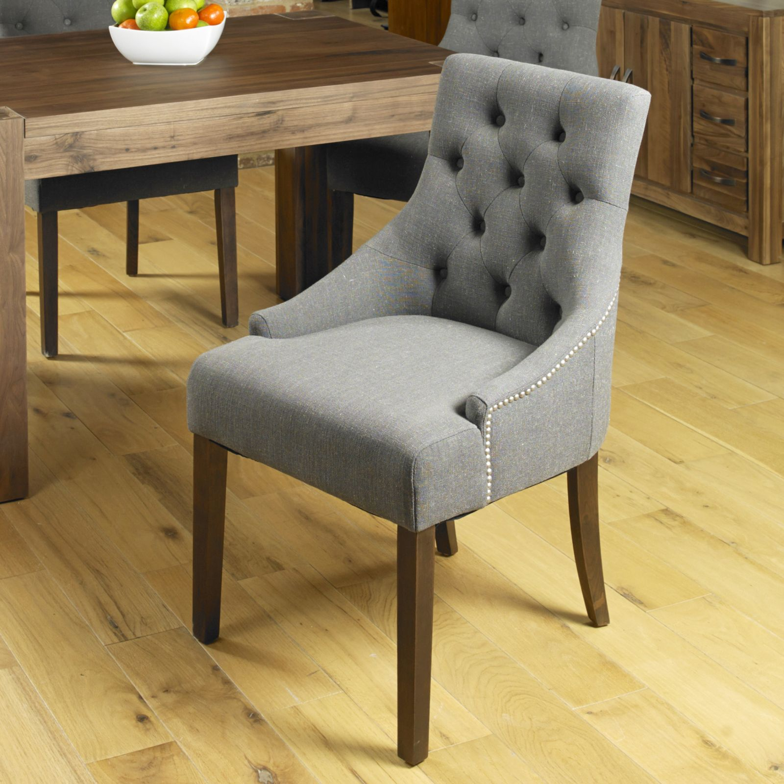 Sierra solid dark wood furniture set of four upholstered ...