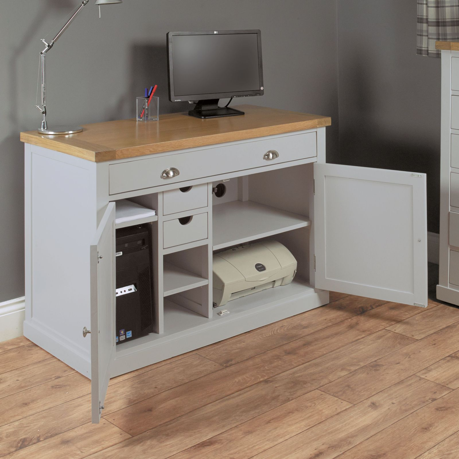 Nara Grey Painted Oak Furniture Hideaway Office PC