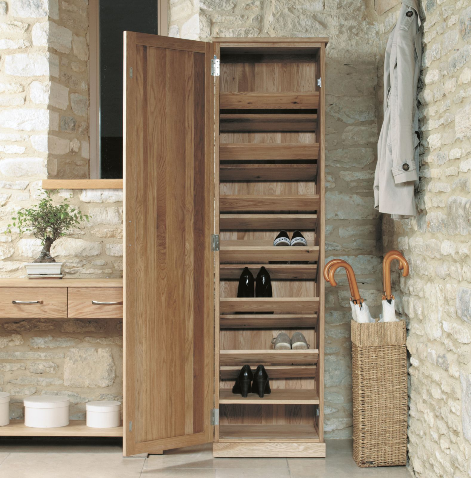 Mobel Solid Oak Furniture Shoe Storage Hallway Bench: Mobel Solid Modern Oak Hallway Furniture Tall Shoe Storage