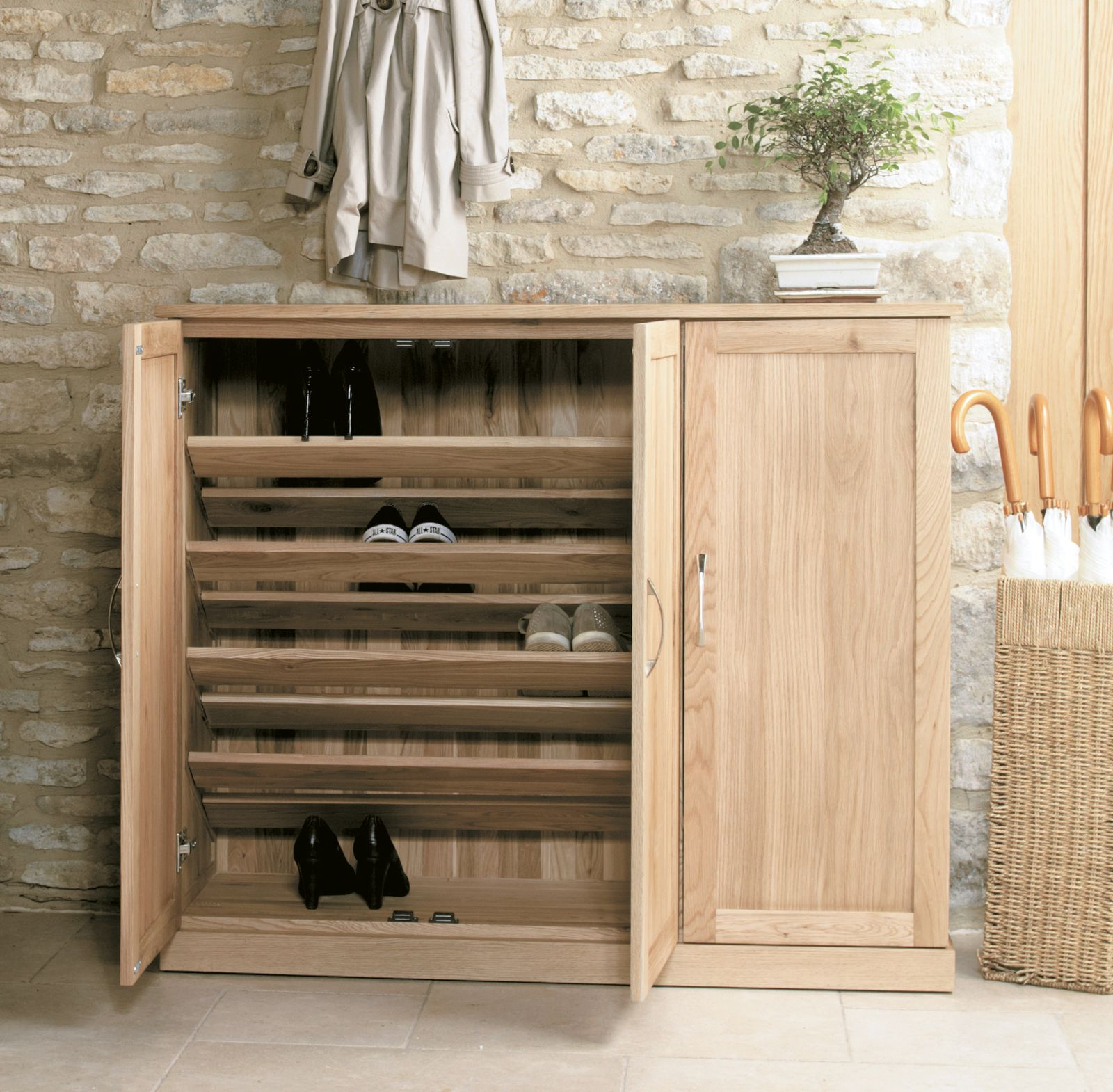 Mobel Solid Oak Furniture Shoe Storage Hallway Bench: Mobel Solid Modern Oak Hallway Furniture Extra Large Shoe
