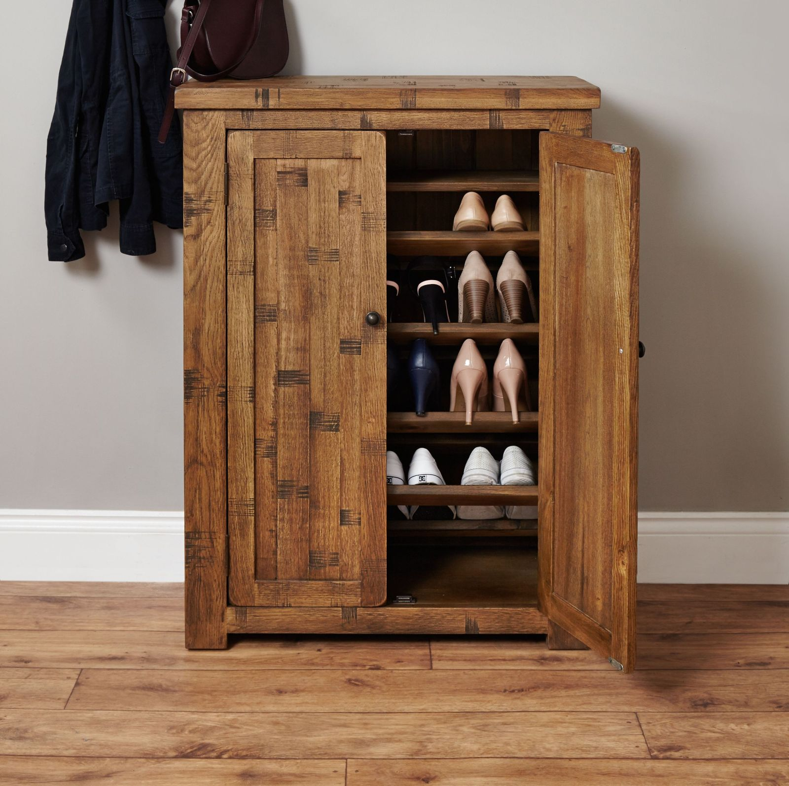 Nara rough sawn solid oak furniture shoe storage cabinet for Cupboard cabinet