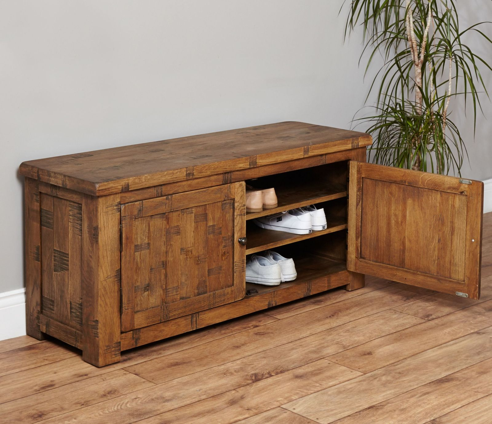 Mobel Solid Oak Furniture Shoe Storage Hallway Bench: Heyford Rough Sawn Solid Oak Furniture Shoe Storage