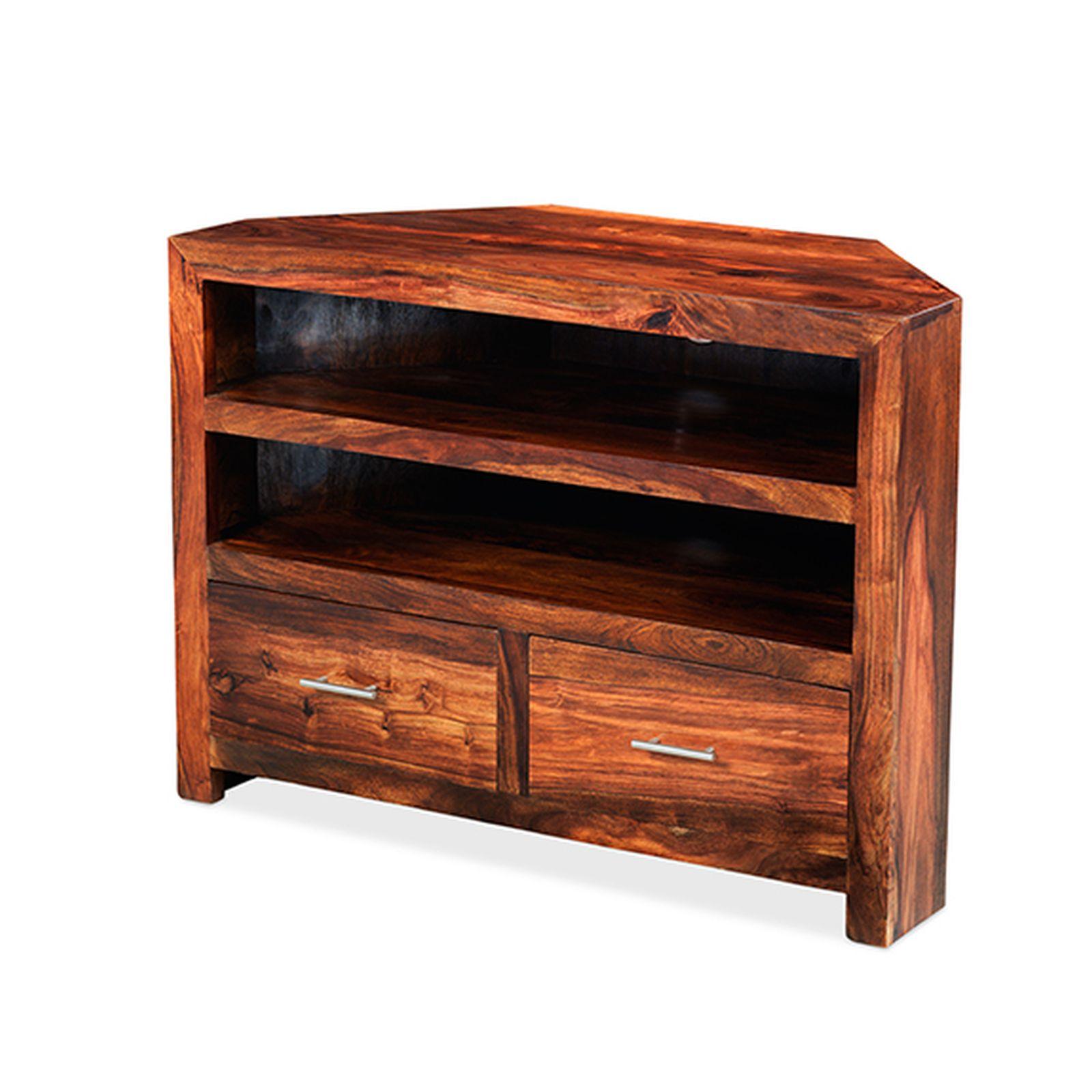 Chennai Solid Sheesham Furniture Corner Tv Dvd Cabinet Stand Unit Ebay