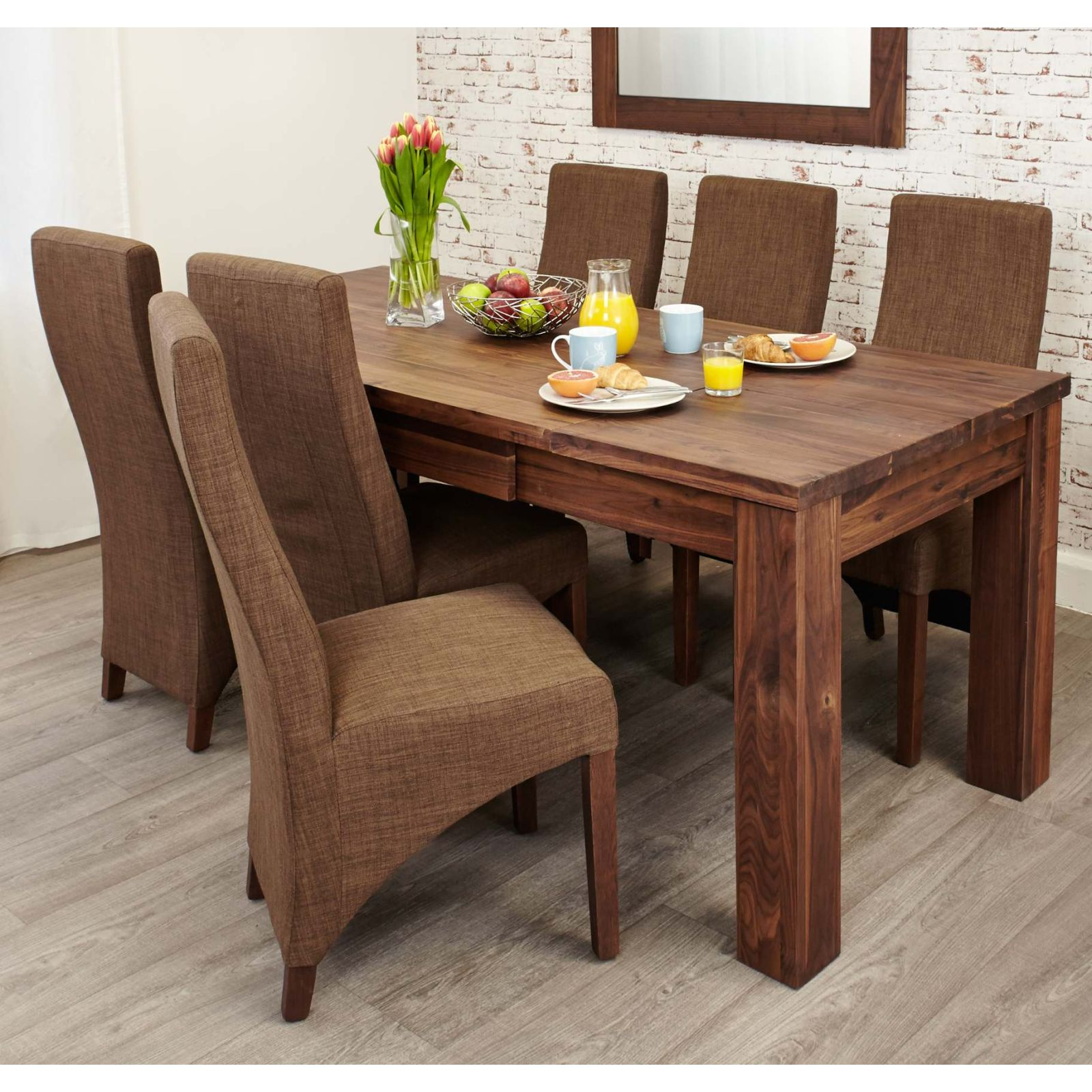 linea solid walnut furniture large dining room extending table ebay. Black Bedroom Furniture Sets. Home Design Ideas