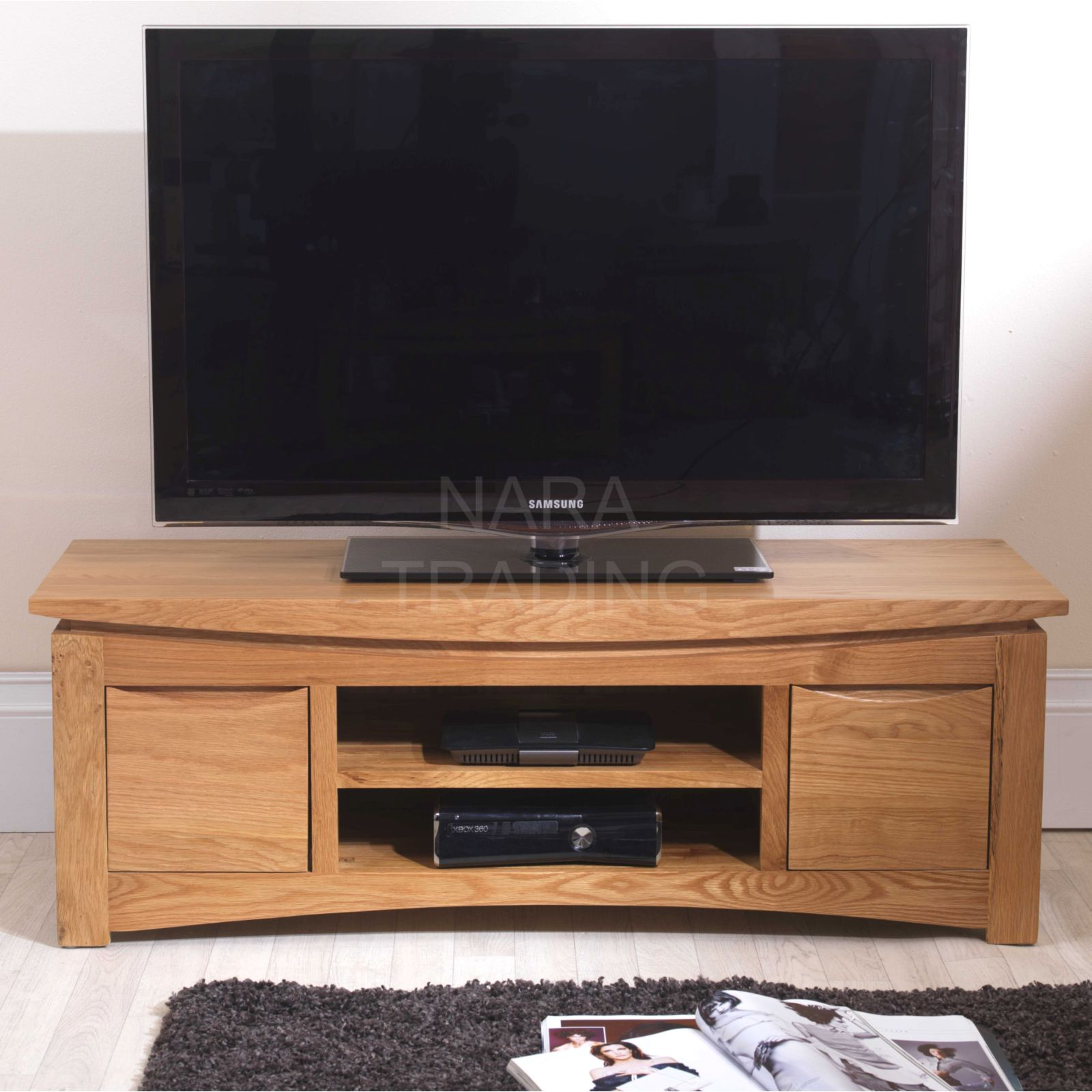 Crescent solid oak furniture widescreen tv dvd cabinet for Tv media storage cabinet