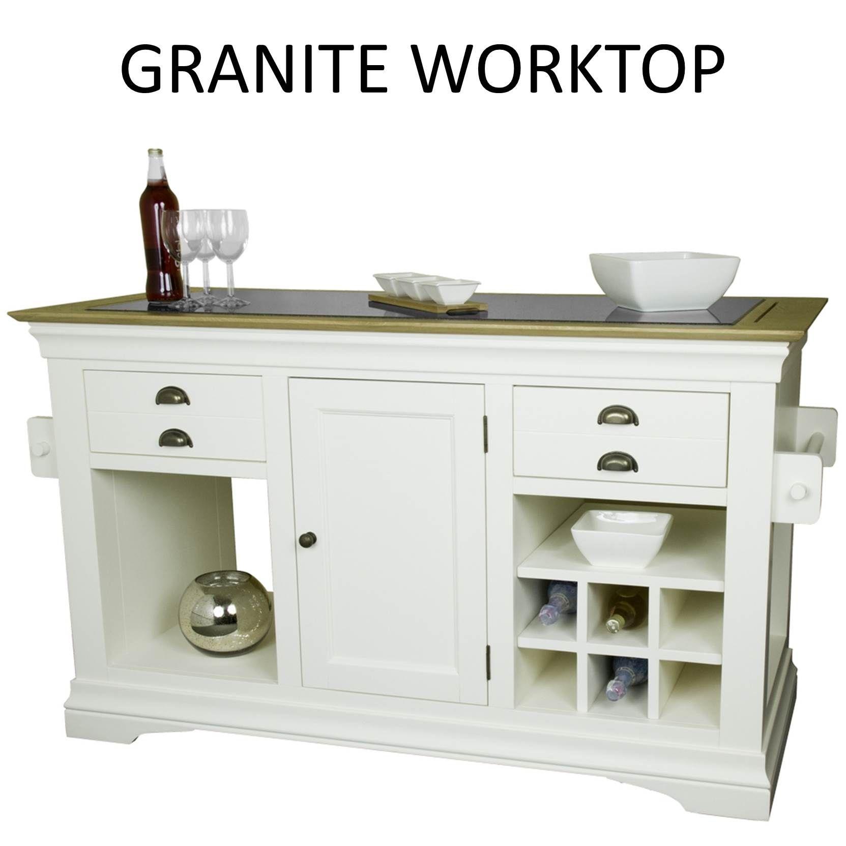 cream painted furniture large granite top kitchen island unit worktop