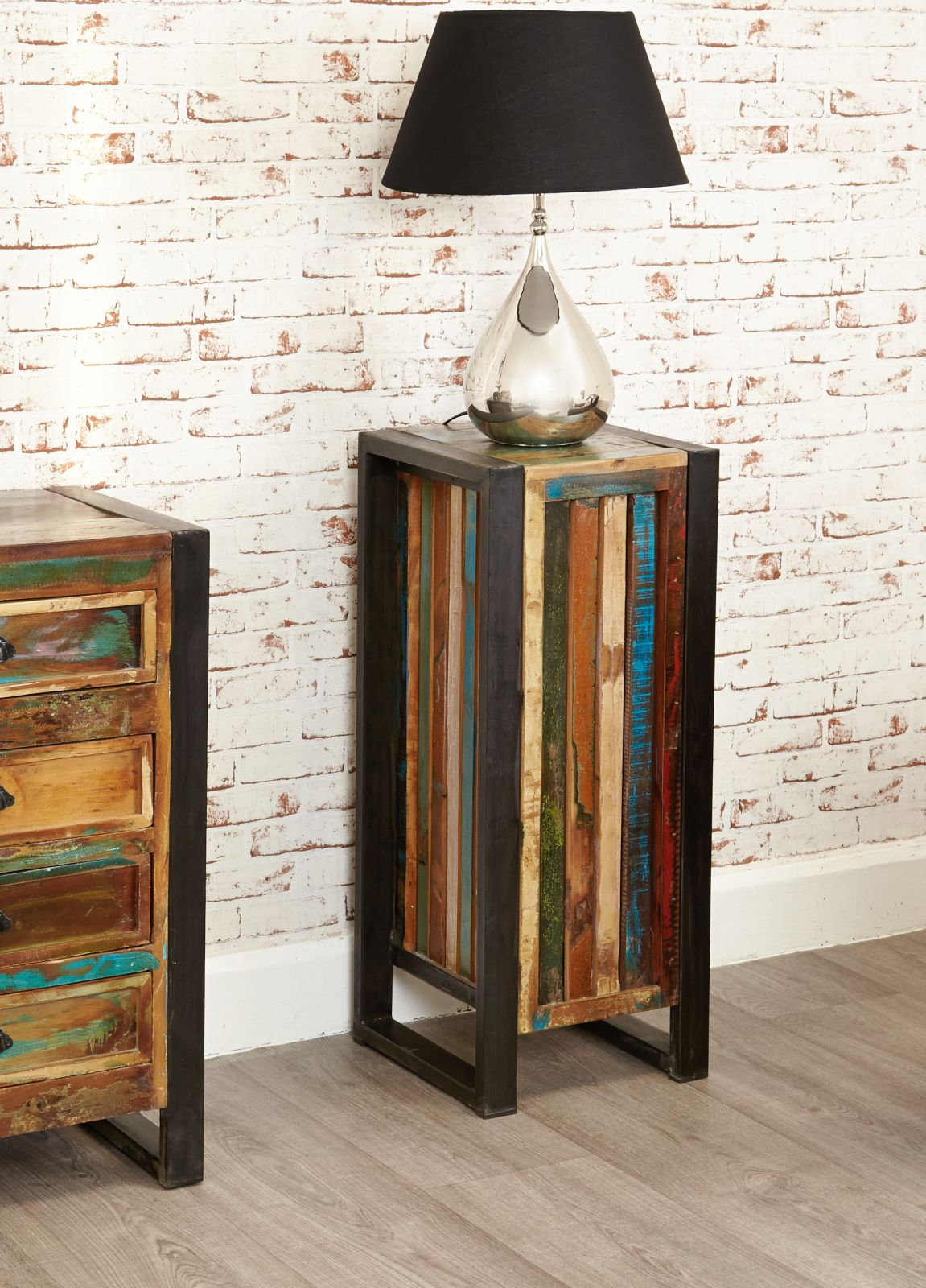 agra reclaimed wood furniture tall plant stand lamp side table ebay. Black Bedroom Furniture Sets. Home Design Ideas