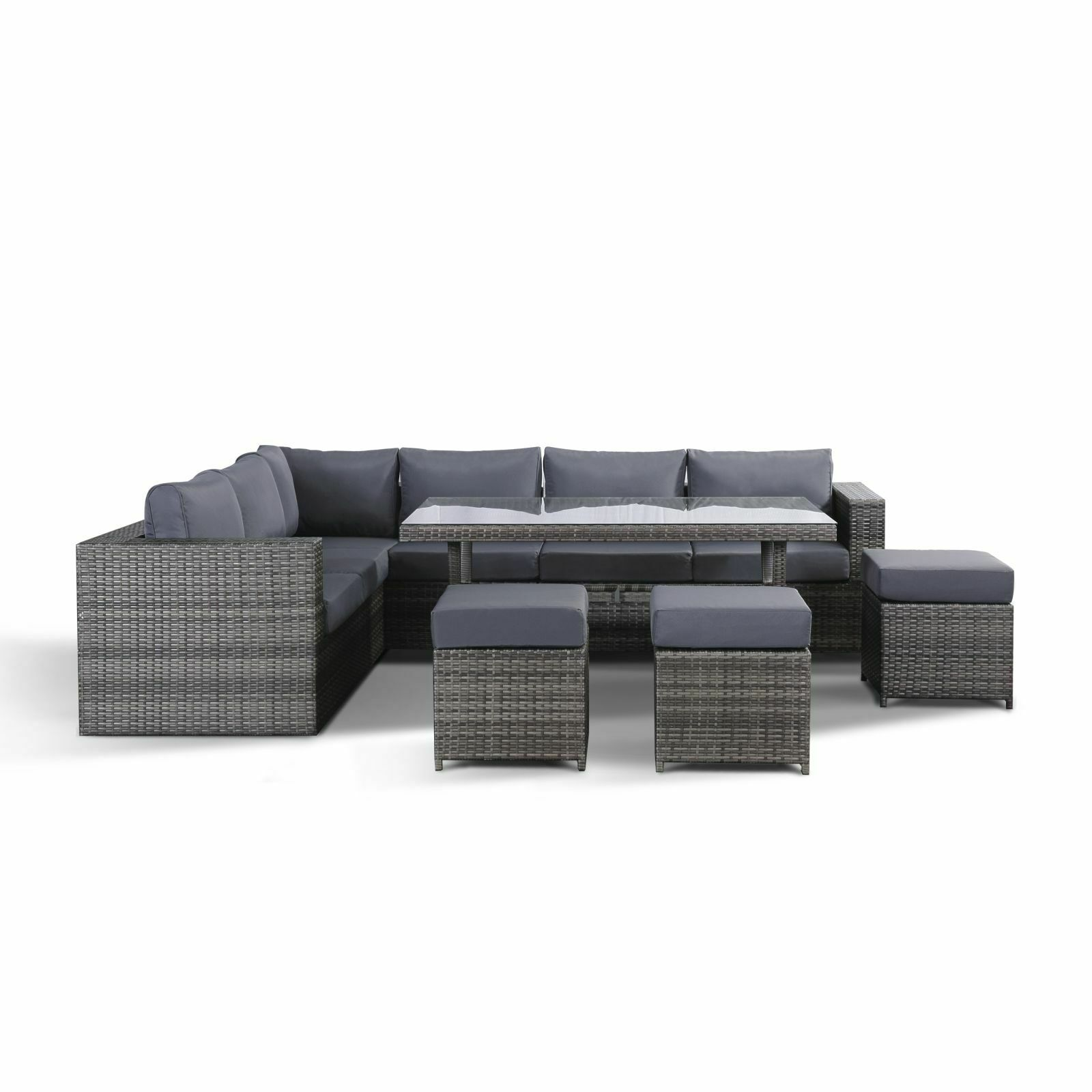 Layla Grey Garden Furniture Corner Sofa Dining Table 3 Stools And Cover Set Ebay