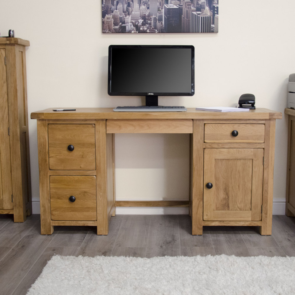 Original Rustic Solid Oak Large Computer PC Desk Home