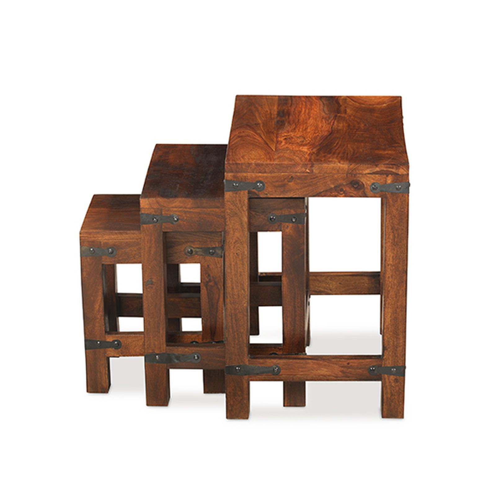 Nepal solid sheesham indian furniture nest of three coffee for Furniture in hindi