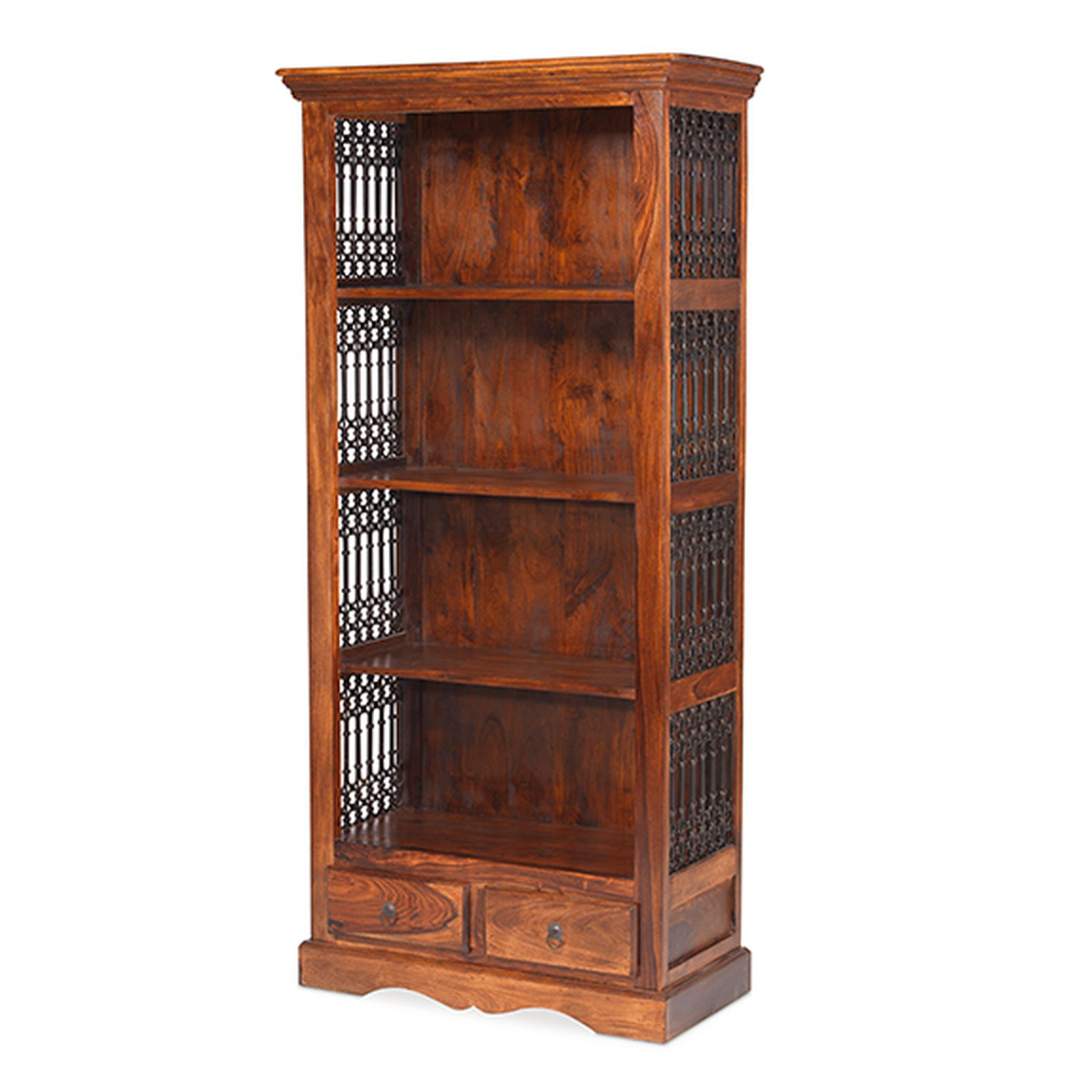Bengal solid sheesham indian furniture large bookcase with for Indian furniture