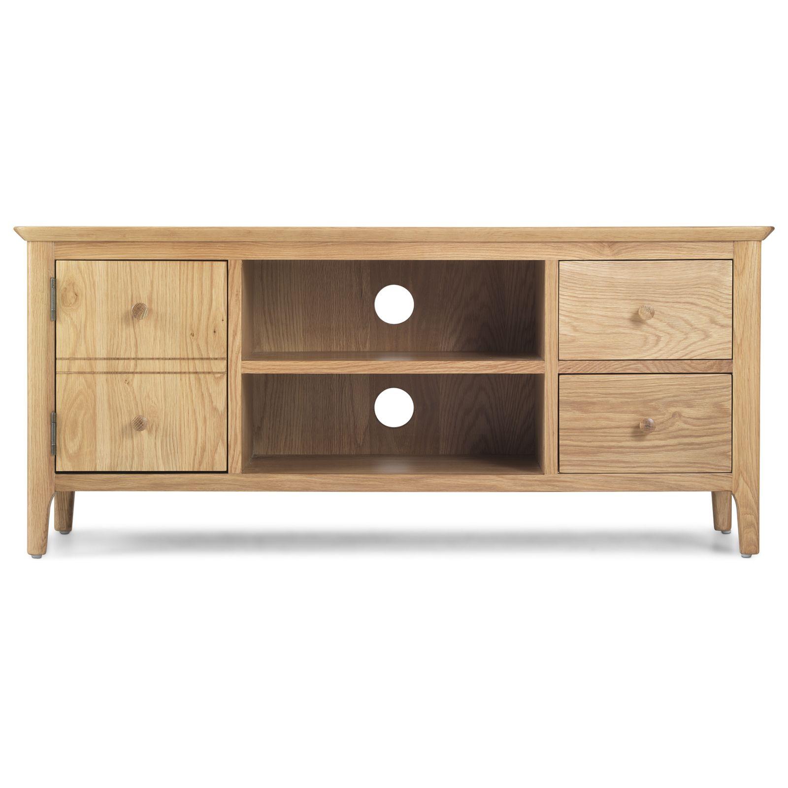 Ferndale solid oak furniture large widescreen TV cabinet stand unit  eBay -> Oak Tv Sideboard Unit