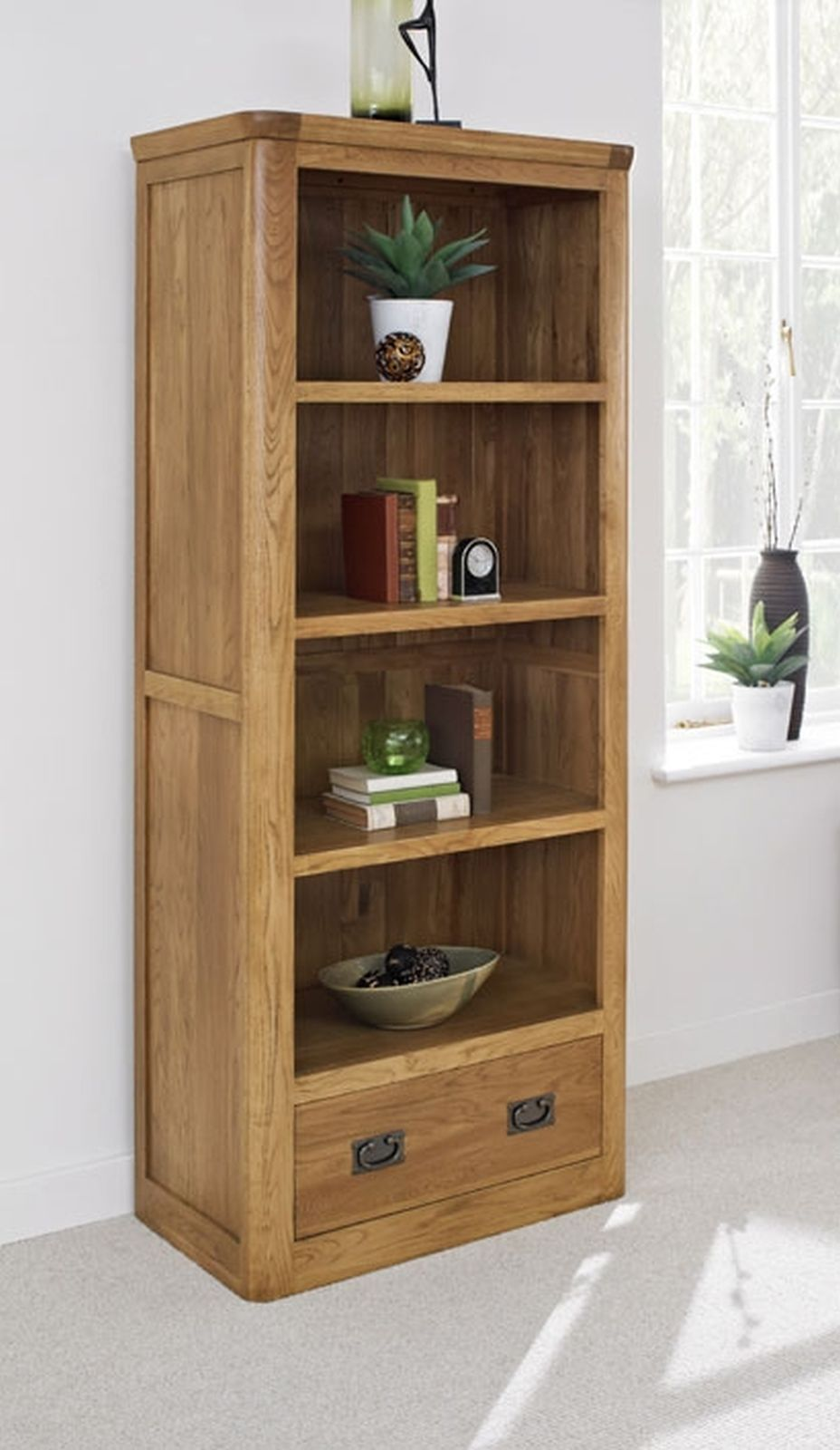 Dalmore solid oak bedroom furniture large bookcase with for Small bedroom bookcase