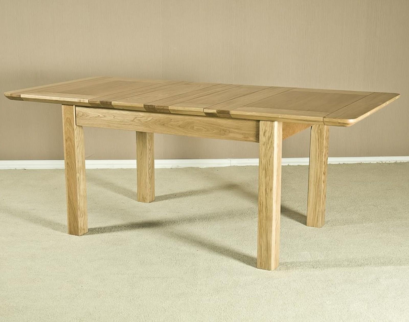Watling solid oak furniture large two leaf extending for Solid oak dining table with leaf