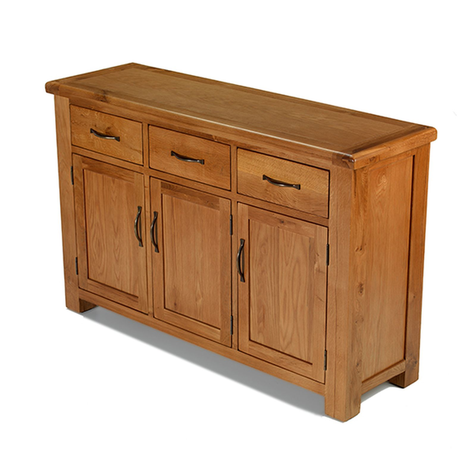 Rushden solid oak furniture large three door three drawer for Solid oak furniture