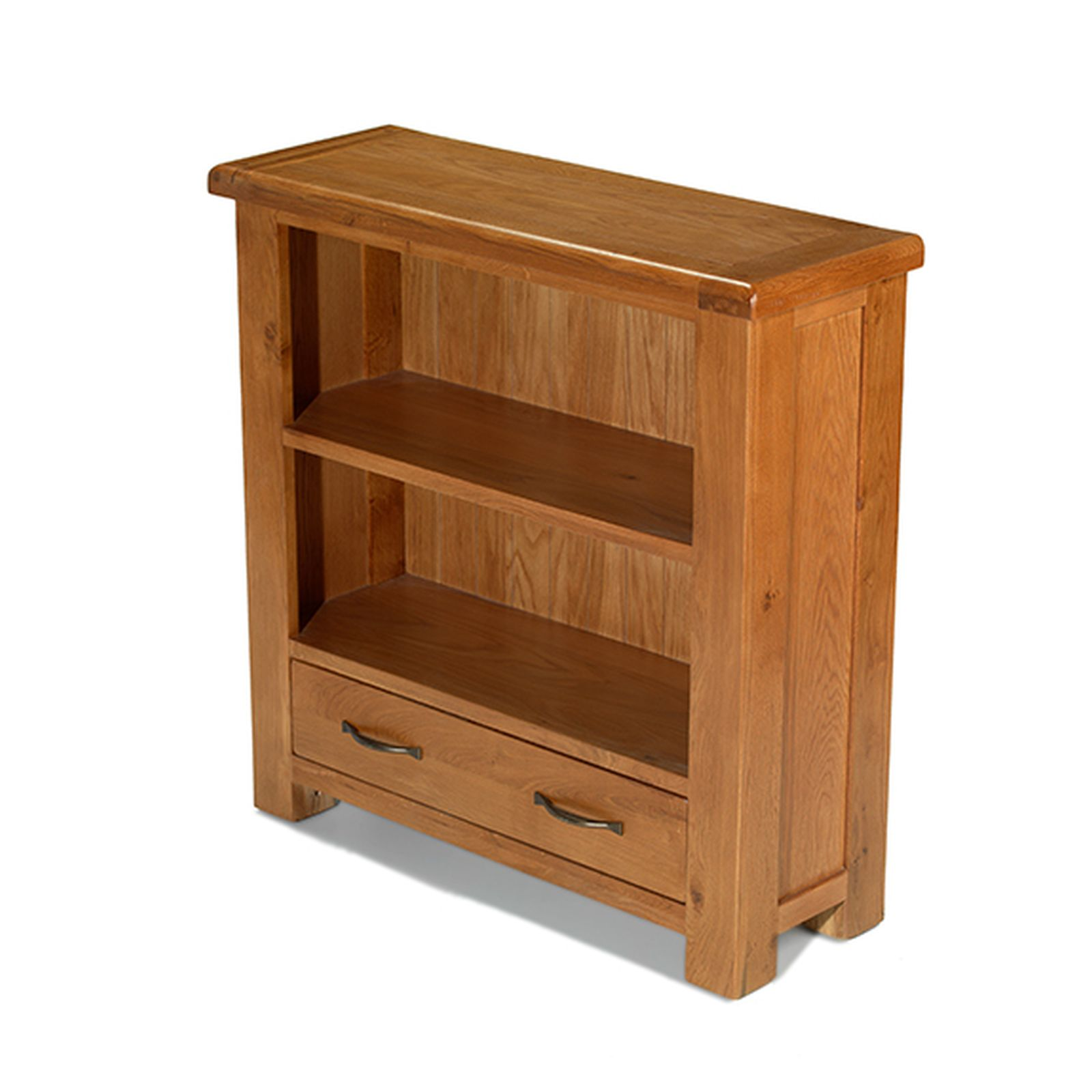 Melrose solid oak furniture small low bookcase with drawer for Solid oak furniture