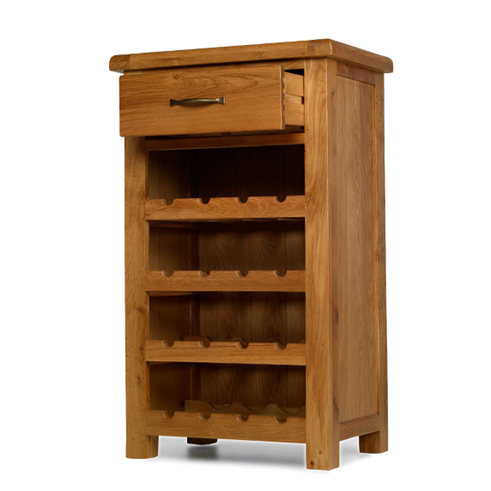 Rushden solid oak furniture small wine bottle cabinet rack for Solid oak furniture