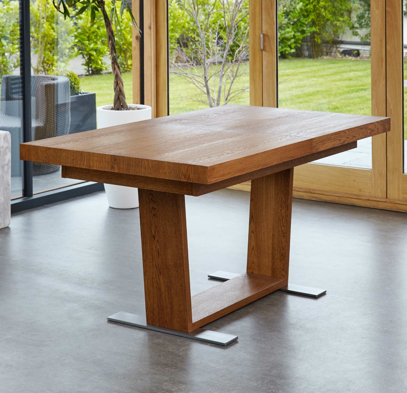 Olten Dark Oak Furniture Extra Large Extending Dining