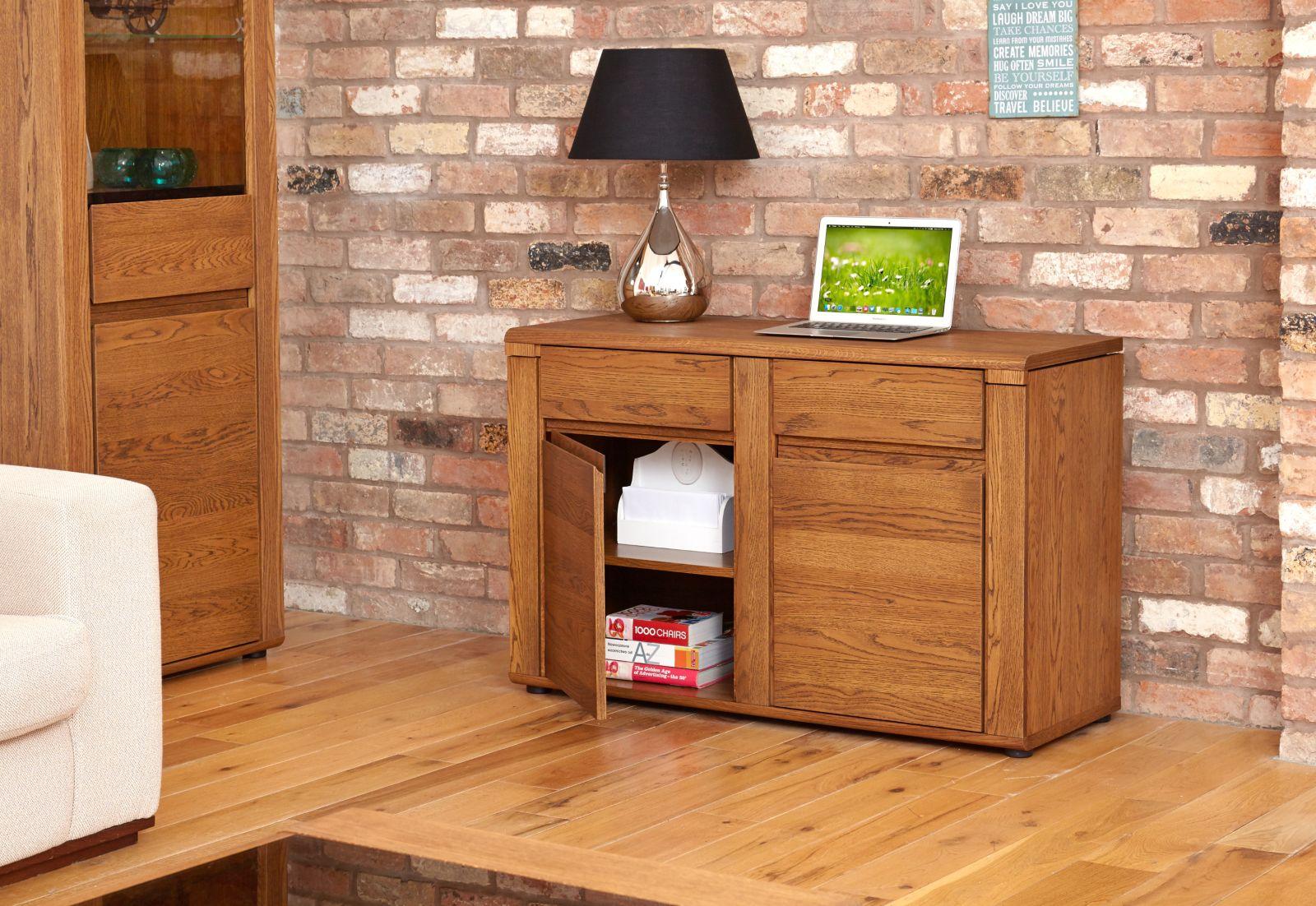 Benson Dark Oak Furniture Hidden Home Office Pc Computer