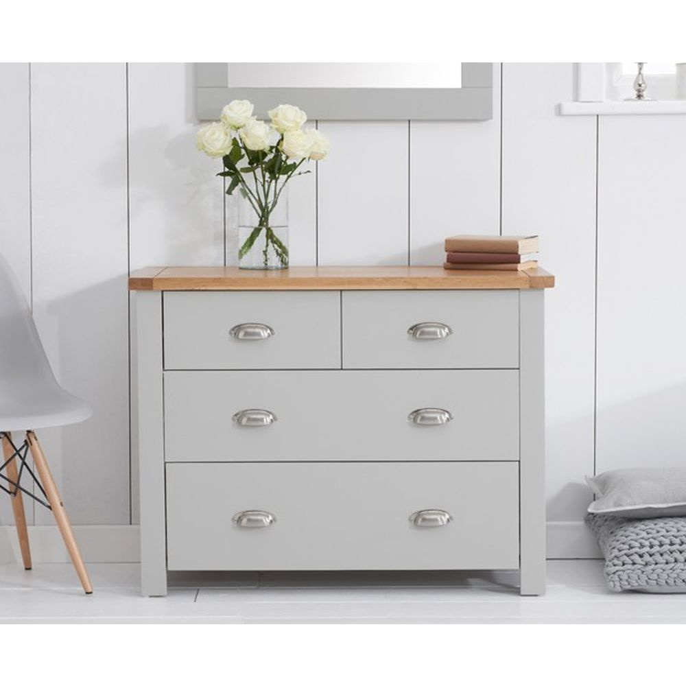 finest selection 60958 efe13 Aston Oak and Grey Painted Bedroom Furniture 2 Over 2 Chest of Drawers